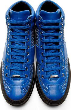 Jimmy Choo; Blue Studded Belgravi High-Top Sneakers