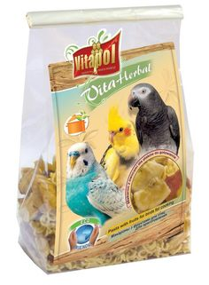 Vitapol Instant Pasta Treat for Pet Birds and Parrots - 130g Easy to prepare instant pasta mix with assorted fruits and peanuts.  Cook up this tasty pasta treat for your bird to enjoy. Simply mix with boiling water and allow it to cool before serving.