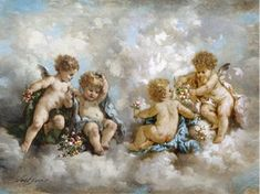 old baby angel paintings Angel Aesthetic, Aesthetic Art, Renaissance Kunst, Baroque Painting, Angel Wallpaper, Angel Images, Angels In Heaven, Classical Art, Angel Art