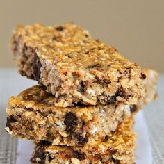 Soft and Chewy Protein Granola Bars Recipe Lunch and Snacks, Breakfast and Brunch with rolled oats, vanilla protein, ground flax, cinnamon, salt, almond butter, honey, vanilla almondmilk, vanilla extract, chocolate chips