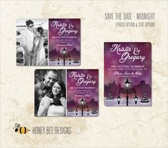 WINTER WEDDING Save the Date - Snowy Park, Evergreens & Lanterns Save the Date - Text and Engagement Photo Options - Printable Digital Files