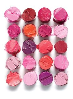 Loving the colors of these lipsticks. Lipstick colors from above. Beauty photography.