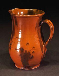 Norwalk pitcher; Redware pottery