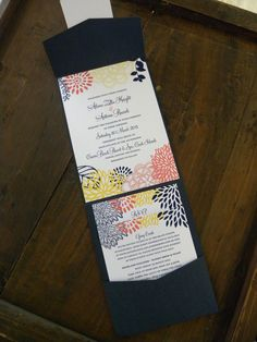 Modern Floral Pocket folder in Navy, Yellow, & Coral Flowers - Wedding invitation suite Pocket Invitation, Flower Invitation, Wedding Invitation Suite, Wedding Stationary, Invitation Design, Wedding Boxes, Wedding Cards, Diy Wedding, Dream Wedding