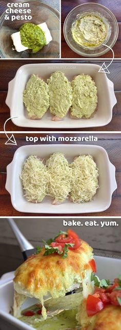Cheesy Pesto Baked Chicken - Düşük karbonhidrat yemekleri - Las recetas más prácticas y fáciles Low Carb Recipes, Diet Recipes, Cooking Recipes, Healthy Recipes, Crab Recipes, Recipies, Cooking Icon, Zoodle Recipes, Cooking Classes
