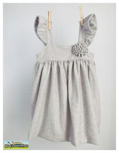 Girls dress - Gray wool dress, wool flower - Other colors available