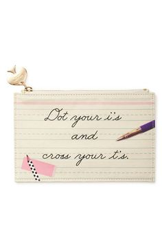 """Pin for Later: 38 Gifts For Wordsmiths and Aspiring Novelists Pencil Pouch Kate Spade's """"dot Your I's"""" pencil pouch ($30) is a sweet way to store pens and pencils."""