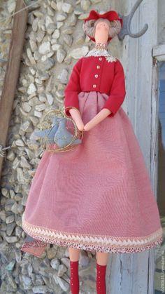 Купить кукла в стиле тильда Почти что Красная шапочка - ярко-красный, заказать