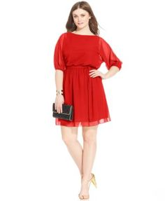 Kirsten - Love Squared Plus Size Bishop-Sleeve Chiffon Dress