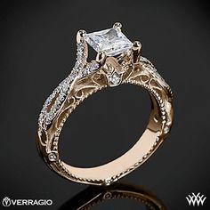 18k Rose Gold Verragio Pave Twist Diamond Engagement Ring