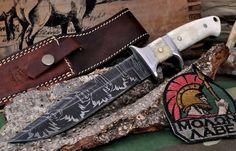 CFK USA Custom Handmade Firestorm II Damascus Subhilt Sub Hilt Camel Bone Knife | eBay