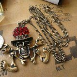 Dancing Skull Pendant Necklace Charm Antique Gold, Party Favor Costume Jewelry w/ Gift Box - Dancing Skull Pendant Necklace Charm Antique Gold, Party Favor Costume Jewelry w/ Gift Box    Individual packaging and hangtags in a Gift boxMaterial: Alloy