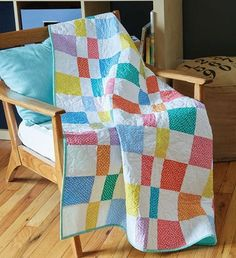 Confetti Candy is a generously-sized crib quilt made with pre-cut 5″ squares. Bright colors broken up by white squares are a winning combination for a kid's quilt or baby quilt. And, polka dotted fabrics are just right for this simple easy baby quilt pattern. Sew this one up in a weekend or, for quick quilters, make it in a day!