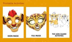 Free Lion Guard Printable Mask and activity sheets. #LionGuardEvent