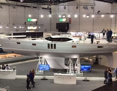 The #oyster575 on display at the Düsseldorf boat show