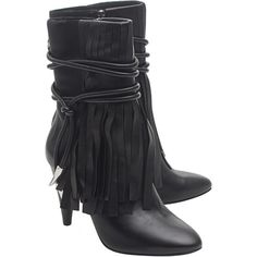 ASH Bird Black // Fringes ankle boot (20.530 RUB) ❤ liked on Polyvore featuring shoes, boots, ankle booties, black fringe booties, black fringe boots, lace up booties, black high heel booties and short black boots