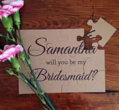 Rustic will you be my Bridesmaid Puzzle by HanmadeDesignsUK, £3.00