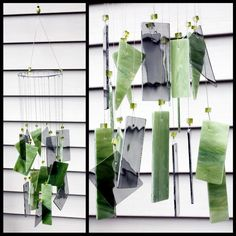 Green and Gray Stained Glass Wind Chime Indoor Outdoor Decor Garden. $38.00, via Etsy.