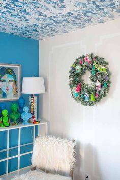colorful holiday wreath Frame Wreath, Diy Wreath, Holiday Wreaths, Christmas Decorations, Simple Christmas, Diy Christmas, Christmas Cocktails, Bottle Brush Trees, Wreath Tutorial
