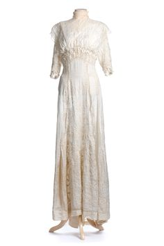 """Embroidered white dress, or """"lingerie frock"""", 1910s, worn by Charleston author Josephine Pinckney. Charleston Museum"""