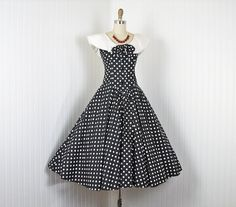 vintage 80s does 50s dress black and white by jumblelaya, $98.00