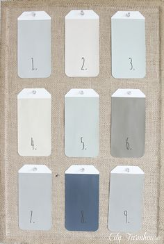 Would love these colors for the house: 1. Restoration Hardware: Silver Sage 2. Vaspar: Natural 3. Vaspar: Rope 4. Olympic: Classic Khaki 5. Olympic: Sprig of Ivy 6. Benjamin Moore: Texas Leather 7. Vaspar: Beach 8. Glidden: Blue/Gray Slate 9. French Linen