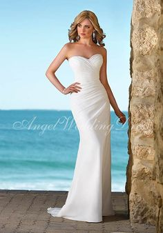 Fit-N-Flare Sweetheart Floor Length Attached Chiffon Ruching/ Beading Wedding Dress Style WD61088 at Angelweddingdress
