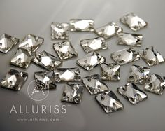 24pcs Clear Crystal wide Rectangle Small 13mm x 18mm by ALLURISS, $8.80