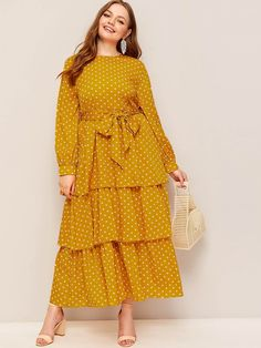 Color: Yellow Details: Belted, Ruffle Hem, Tiered Layer Dresses Length: Maxi Fabric: Fabric has no stretch Composition: Polyester Neckline: Round Neck Pattern Type: Polka Dot Season: Spring Silhouette: Fit and Flare Sleeve Length: Long Sleeve Style: Boho Muslim Fashion, Hijab Fashion, Fashion Dresses, 80s Fashion, Korean Fashion, Fashion Trends, Plus Size Dresses, Dresses For Sale, Girls Dresses