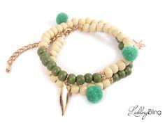 Armbänder - Wickelarmband in Grün/Beige - ein…