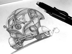 Sketch: Volkswagen Bubble! by Marcelo Schultz. #Volkswagen #concept #sketch #design