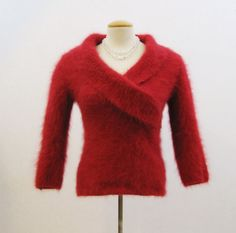 Angora Sweater Vintage 90s Cranberry Red Super Fluffy Wrap Collar M 37ed81b30