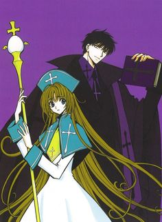 Miyuki-chan (white bishop) and Seishiro (black bishop)  From CLAMP no Kiseki