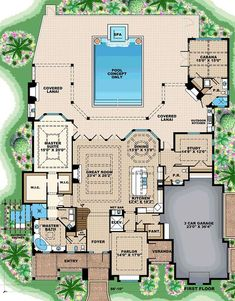 Florida Mediterranean House Plan 75938 Level One