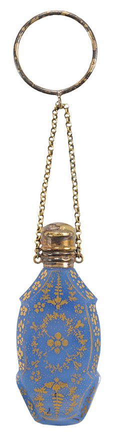 Perfume Bottle; English, Opaline Glass, Floral Motif, Chain & Ring, Gilt Silver Hinged Stopper, 2 inch.