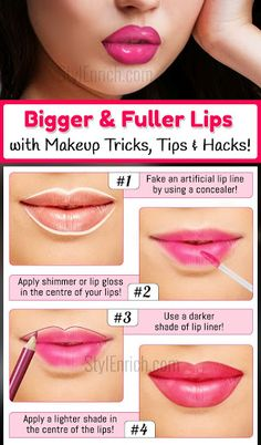 to Get Fuller Lips With Makeup Tricks, Tips & Hacks? How to Get Bigger & Fuller Lips With Makeup Tricks, Tips & Hacks?How to Get Bigger & Fuller Lips With Makeup Tricks, Tips & Hacks? Thin Lips, Bold Lips, Overline Lips, How To Apply Lipstick, How To Apply Makeup, Learn Makeup, Makeup Tricks, Beauty Tricks, Makeup Ideas