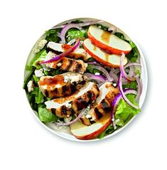 Apple-Blue  8 oz Bibb lettuce  1 red onion, sliced  1 apple, sliced  ¼ cup blue cheese  8 oz cooked chicken  ½ cup yogurt dressing