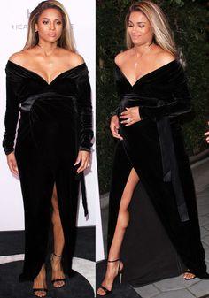 79a3a98534e Ciara basks in her pregnancy glow in a velvet dress by Rhea Costa