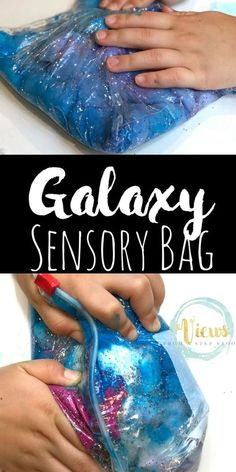 Space Sensory Bag - Mess-Free Play for Babies and Toddlers This space sensory bag is like a galaxy or a nebula that kids can hold in their hands and squish! A mess-free sensory experience for babies and toddlers. Space Activities For Kids, Sensory Activities Toddlers, Sensory Play, Sensory Tools, Space Theme For Toddlers, Parenting Toddlers, Outer Space Crafts For Kids, Toddler Sensory Activities, Baby Sensory Bags