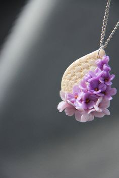 Blooming lilac and lace polymer clay pendant. by Keepandcherish, $25.99