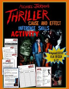 """""""Thriller"""" by Michael Jackson, Cause and Effect & Inference Skills Activitiy"""
