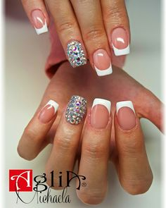 White french nails,  Swarovski nails