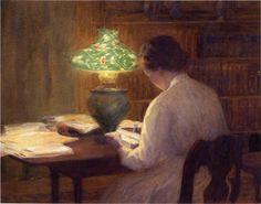 The Evening Lamp, 1912 by Mina Fonda Ochtman (American, 1862—1924)