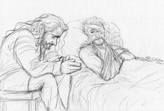 """ofahattersmind: """"""""Fíli searched his uncle's face. A storm gathered in his expression, building pressure behind his eyes and filling them with moisture. Thorin inhaled deeply and shook his head. """"I have made countless mistakes in my time. Tolkien Hobbit, Hobbit Art, Tolkien Books, Lotr, The Hobbit, Injured Pose Reference, Fili Und Kili, Bagginshield, Middle Earth"""