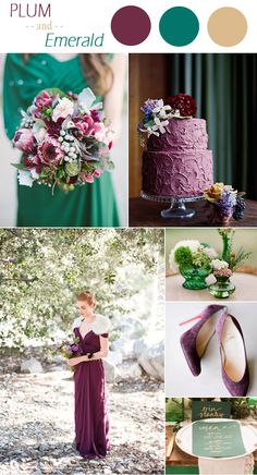 jewelry tones inspired plum and emerald wedding color ideas for winter 2015