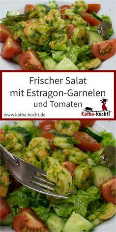 Seid ihr auch immer auf der Suche nach der nächsten großen Salat-Liebe? Dann kann ich euch diesen frischen Salat mit Estragon-Garnelen nur wärmstens empfehlen. Total unkompliziert und unglaublich lecker. Perfekt für alle Seafood-Fans und jeden der etwas Abwechslung auf dem Salatteller sucht. Das Rezept findest du hier auf katha-kocht! Sprouts, Vegetables, Dips, Germany, Food, Fish Plate, Sauces, Essen, Vegetable Recipes
