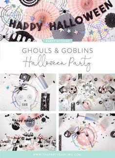 ghouls and goblins halloween party ideas Halloween First Birthday, Pumpkin Birthday Parties, Pink Halloween, Adult Halloween Party, Girl First Birthday, Halloween Party Decor, Halloween Themes, Halloween Crafts, Halloween Tricks