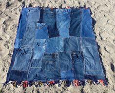 Eco-Friendly Patchwork Denim Quilt, Plaid Blanket, Picnic Blanket