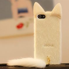 iPhone 5 Cute Cases with lovely tail, Brand New, it is made of Silicone material, which wrapped around all your iPhone's edges to protect it from bumps and drops while leaving the screen completely available for use. Covers Iphone, Cute Iphone 5 Cases, Cute Cases, Mac Book, Telephone Iphone, Cute Plush, Fluffy Cat, Coque Iphone, Skin Case