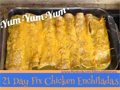 21 Day Fix Chicken Enchiladas!! No need to skip on an all time favorite just because I\'m eating healthy!! Kid tested and hubby approved!! 30 minute recipe at www.melindabesina...